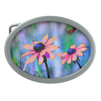 Peach and Pink Daisy Oval Belt Buckle