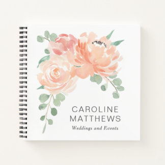 Peach and Pink Feminine Watercolor Botanical Notebook
