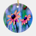 Peach and Pink Flowers Christmas Tree Ornaments