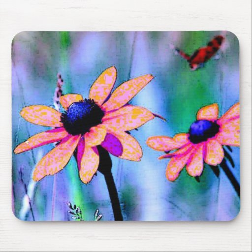 Peach and Pink Flowers Mousepads