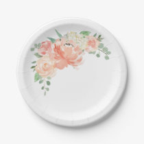 Peach and Pink Pastel Watercolor Floral Paper Plate