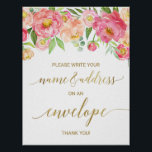 "Peach and Pink Peony Address An Envelope Sign<br><div class=""desc"">This peach and pink peony &quot;Address an Envelope&quot; sign is perfect for an elegant girls baby shower. The floral design features a beautiful arrangement of watercolor peonies in shades of blush and coral matched with dainty faux gold foil calligraphy. Have your guests address a thank you card envelope to themselves...</div>"