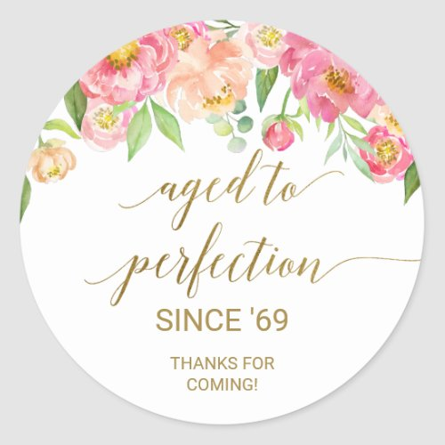 Peach and Pink Peony Aged to Perfection Thank You Classic Round Sticker