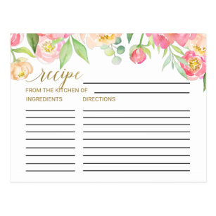 peach and pink peony bridal shower recipe cards