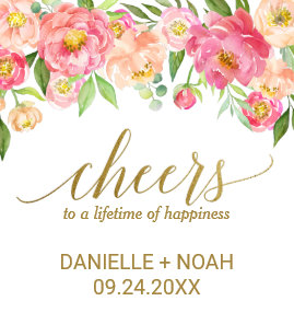 Peach And Pink Peony Cheers Wedding Wine Labels