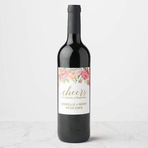"""Peach and Pink Peony """"Cheers"""" Wedding Wine Labels"""