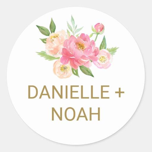 Peach and Pink Peony Flower Wedding Envelope Seals