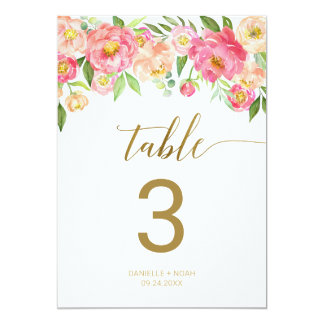 "Peach and Pink Peony Flowers 5x7"" Table Number"