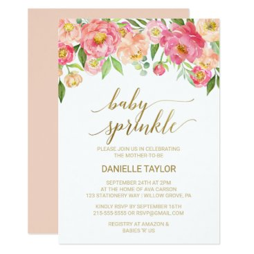 Toddler & Baby themed Peach and Pink Peony Flowers Baby Sprinkle Card