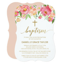 Peach and Pink Peony Flowers Baptism Invitation