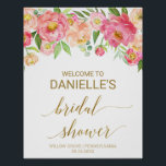 "Peach and Pink Peony Flowers Bridal Shower Welcome Poster<br><div class=""desc"">This peach and pink peony flowers bridal shower welcome poster is perfect for an elegant wedding shower. The floral design features a beautiful arrangement of watercolor peonies in shades of blush and coral matched with dainty faux gold foil calligraphy. Customize the poster with the name of the bride-to-be, and the...</div>"