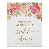 Peach and Pink Peony Flowers Bridal Shower Welcome Poster