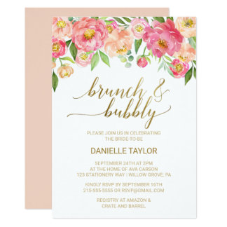 Peach and Pink Peony Flowers Brunch and Bubbly Card