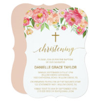 Peach and Pink Peony Flowers Christening Card