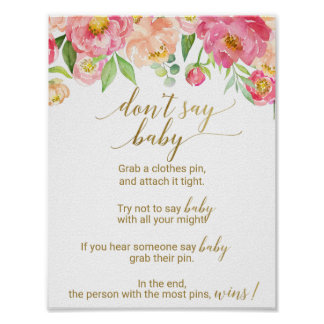 Peach and Pink Peony Flowers Don't Say Baby Sign