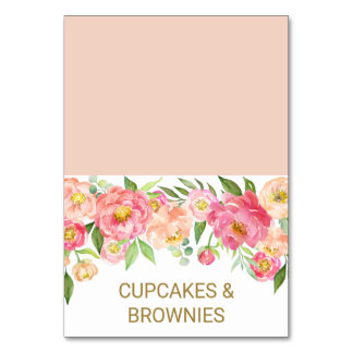 Peach and Pink Peony Flowers Food Tent Cards