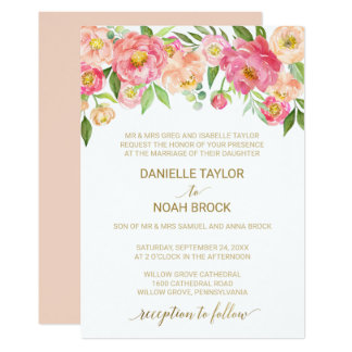 Formal wedding invitations announcements zazzle peach and pink peony flowers formal wedding card stopboris Gallery