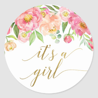Peach and Pink Peony Flowers It's A Girl Classic Round Sticker