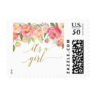 Peach and Pink Peony Flowers It's A Girl Postage