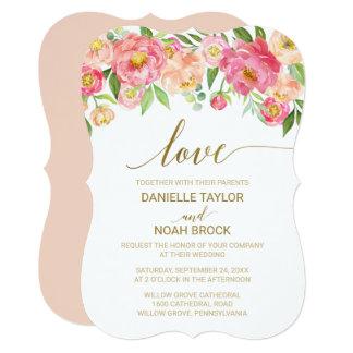 "Peach and Pink Peony Flowers ""Love"" Wedding Card"