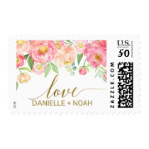 "Peach and Pink Peony Flowers ""Love"" Wedding Postage"