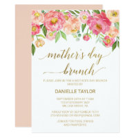 Peach and Pink Peony Flowers Mother's Day Brunch Card