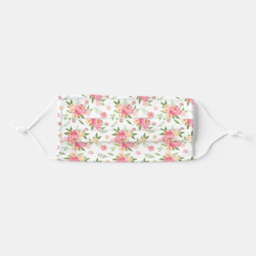 Peach and Pink Peony Flowers Pattern Cloth Face Mask
