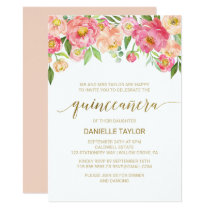 Peach and Pink Peony Flowers Quinceanera Card