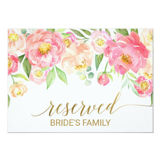 "Peach and Pink Peony Flowers ""Reserved"" Sign Invitation"