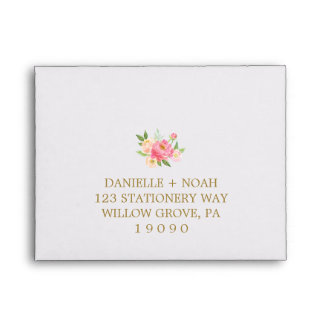 Peach and Pink Peony Flowers RSVP Envelope