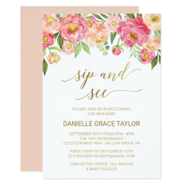 Toddler & Baby themed Peach and Pink Peony Flowers Sip and See Card