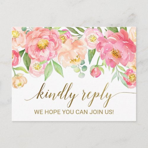 Peach and Pink Peony Flowers Song Request RSVP Invitation Postcard