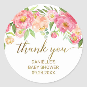 Happy Birthday Stickers  Vintage Flowers Thank you Birthday Stickers Favours