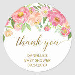 "Peach and Pink Peony Flowers Thank You Favor Classic Round Sticker<br><div class=""desc"">These peach and pink peony flowers thank you favor stickers are perfect for an elegant girls baby shower. The floral design features a beautiful arrangement of watercolor peonies in shades of blush and coral matched with dainty faux gold foil calligraphy. Personalize the sticker labels with the name of the guest...</div>"