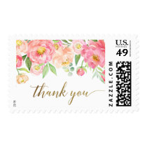 Peach and Pink Peony Flowers Thank You Postage