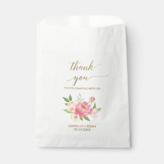 Peach and Pink Peony Flowers Wedding Favor Bags