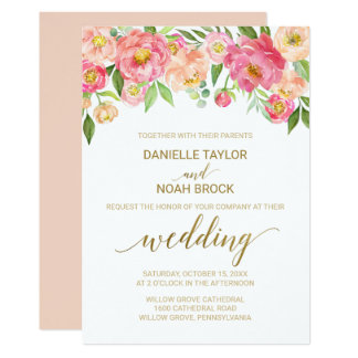 Peach and Pink Peony Flowers Wedding Invitation