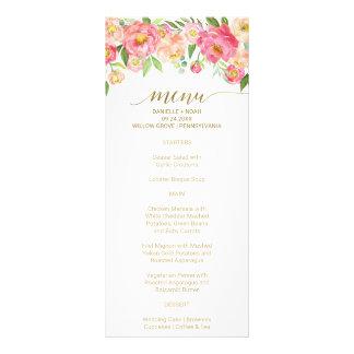 Peach and Pink Peony Flowers Wedding Menu Card