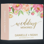 """Peach and Pink Peony Flowers Wedding Photo Album 3 Ring Binder<br><div class=""""desc"""">This peach and pink peony flowers wedding photo album is perfect for an elegant wedding. The floral design features a beautiful arrangement of watercolor peonies in shades of blush and coral matched with dainty faux gold foil calligraphy. Personalize the binder with the names of the bride and groom and the...</div>"""