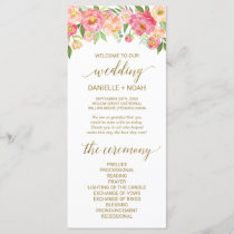 Peach and Pink Peony Flowers Wedding Program
