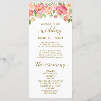 Peach and Pink Peony Flowers Wedding Program