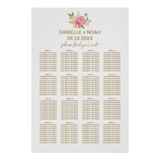 Peach and Pink Peony Flowers Wedding Seating Chart