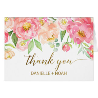 Peach and Pink Peony Flowers Wedding Thank You