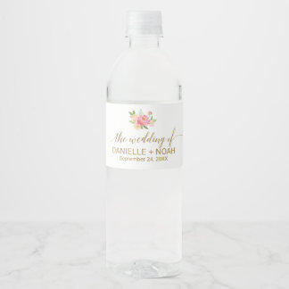 Peach and Pink Peony Flowers Wedding Water Bottle Label