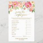 """Peach and Pink Peony Guess The Right Price Game<br><div class=""""desc"""">This peach and pink peony &quot;guess the right price&quot; game is perfect for an elegant girls baby shower. The front of the game card features &quot;guess the right price&quot;, and the back of the card features &quot;what&#39;s in your phone&quot;. The floral design features a beautiful arrangement of watercolor peonies in...</div>"""