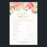"""Peach and Pink Peony Guess The Right Price Game Flyer<br><div class=""""desc"""">This peach and pink peony &quot;guess the right price&quot; game is perfect for an elegant girls baby shower. The front of the game card features &quot;guess the right price&quot;, and the back of the card features &quot;what&#39;s in your phone&quot;. The floral design features a beautiful arrangement of watercolor peonies in...</div>"""
