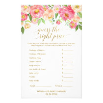 Peach and Pink Peony Guess The Right Price Game Flyer