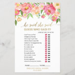 """Peach and Pink Peony &quot;He Said She Said&quot; Game<br><div class=""""desc"""">This peach and pink peony &quot;he said she said&quot; game is perfect for an elegant bridal shower. The front of the game card features &quot;he said she said&quot; which is a fun quiz about the bride and groom. The back of the card features a word find with wedding related words...</div>"""