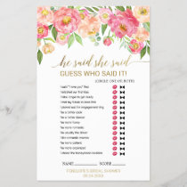 "Peach and Pink Peony ""He Said She Said"" Game"