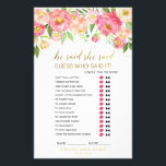 """Peach and Pink Peony &quot;He Said She Said&quot; Game Flyer<br><div class=""""desc"""">This peach and pink peony &quot;he said she said&quot; game is perfect for an elegant bridal shower. The front of the game card features &quot;he said she said&quot; which is a fun quiz about the bride and groom. The back of the card features a word find with wedding related words...</div>"""